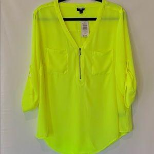 TORRID Neon Yellow zip front Tunic sz 1